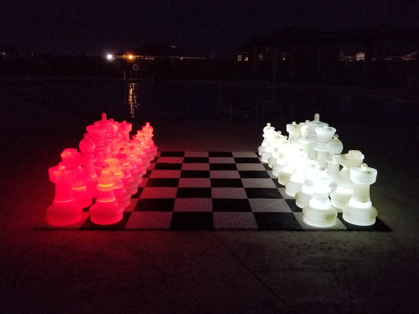 MegaChess 25 Inch Plastic LED Giant Chess Set - Option 2 - Night Time Only Set |  | MegaChess.com