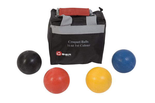 Uber Games Croquet Balls | 9oz Wooden / Red, Yellow, Blue, Black | MegaChess.com