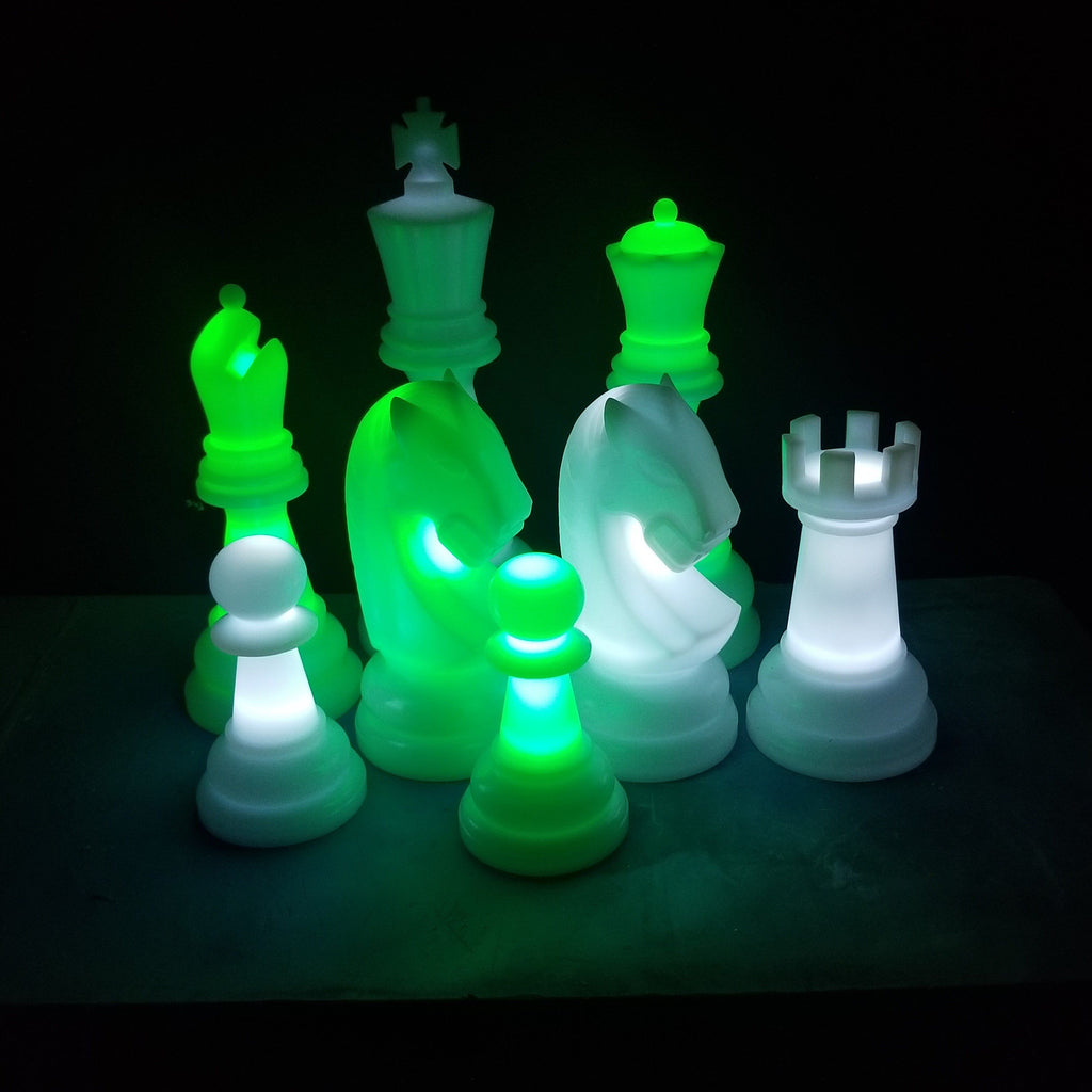 The Perfect 26 Inch Perfect Light-Up Giant Chess Set - Option 2 - Night Time Only Set | Green/White | MegaChess.com