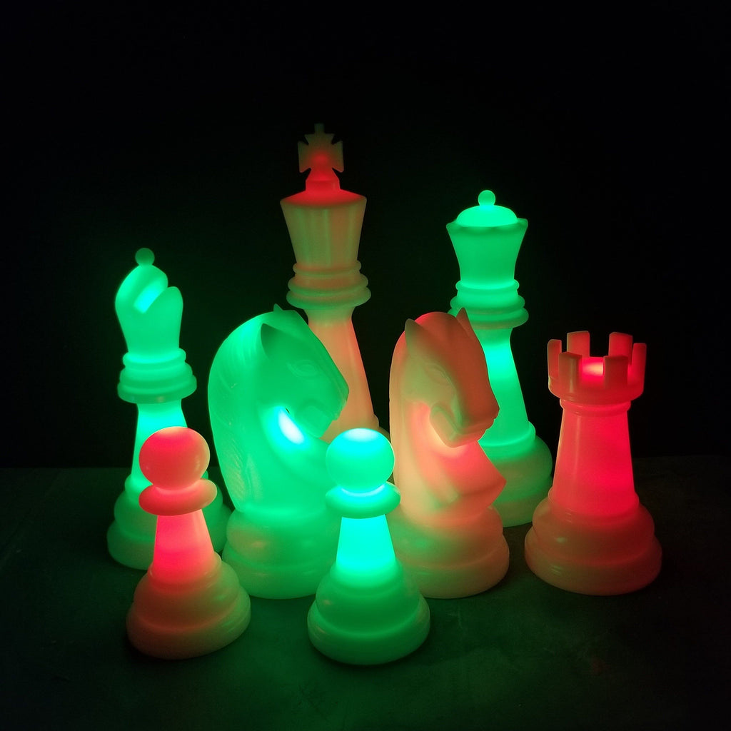 The Perfect 26 Inch Perfect Light-Up Giant Chess Set - Option 2 - Night Time Only Set | Red/Green | MegaChess.com