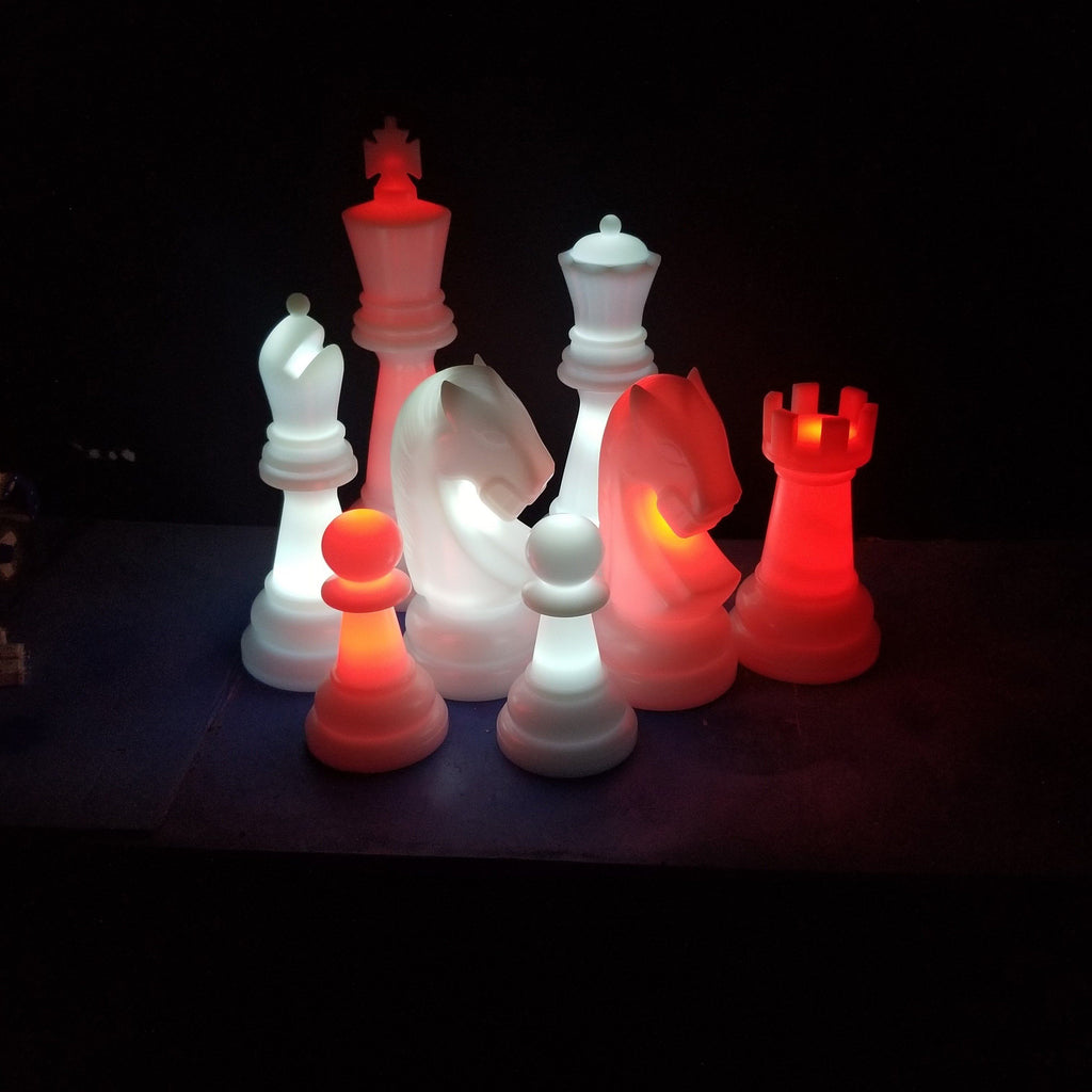 The Perfect 26 Inch Perfect Light-Up Giant Chess Set - Option 2 - Night Time Only Set | White/Red | MegaChess.com