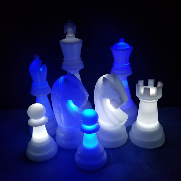 The Perfect 26 Inch Perfect Light-Up Giant Chess Set - Option 2 - Night Time Only Set | Blue/White | MegaChess.com