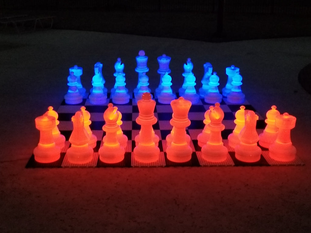 MegaChess 25 Inch Plastic Light-Up LED Giant Chess Set with Day Time Pieces | Red/Blue | MegaChess.com