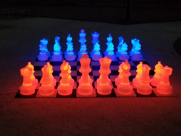 MegaChess 25 Inch Plastic LED Giant Chess Set - Option 3 - Day and Night Deluxe Set |  | MegaChess.com