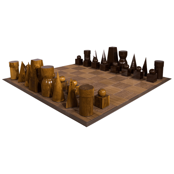 MegaChess 21 Inch Geometric Teak Giant Chess Set |  | MegaChess.com