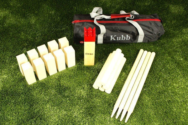 Kubb Traditional Swedish 12 Inch King Wooden Game with Carrying Bag Uber Games