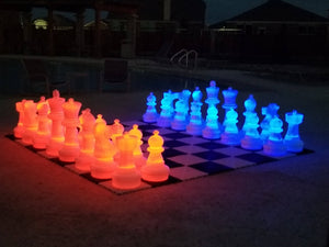 MegaChess 25 Inch Plastic LED Giant Chess Set - Option 2 - Night Time Only Set | Red/Blue | MegaChess.com