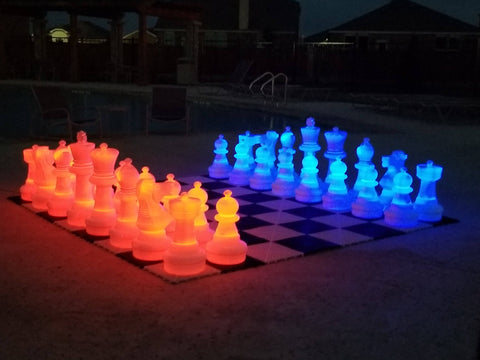 MegaChess 25 Inch Plastic LED Giant Chess Set - Multiple Colors Available! | Red/Blue | MegaChess.com