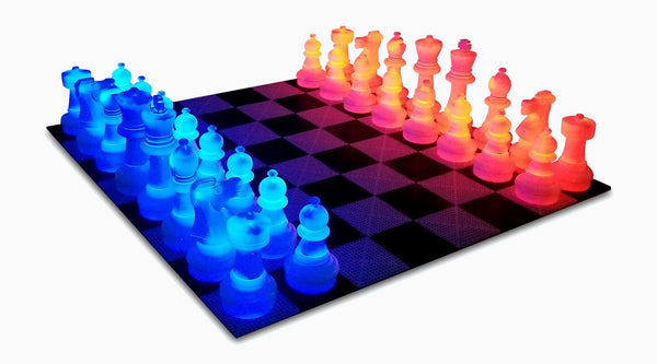 MegaChess 25 Inch Plastic LED Giant Chess Set - Option 3 - Day and Night Deluxe Set | Red/Blue | MegaChess.com