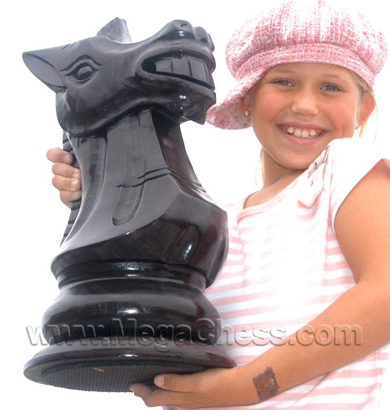 MegaChess 16 Inch Dark Teak Knight Giant Chess Piece |  | MegaChess.com