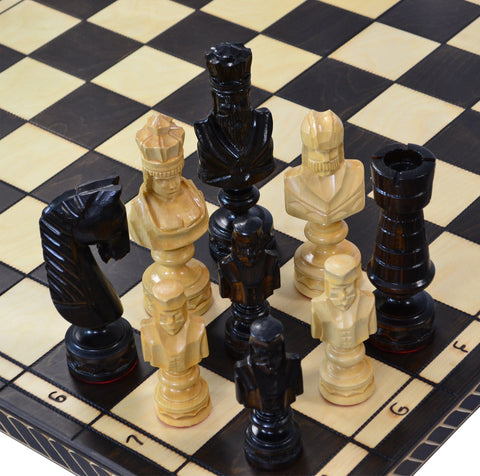 Giant Birch Chess Sets - 8 inches tall