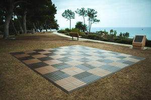 "New Wood Teak and Walnut Chess Board with 24"" Squares SEL 