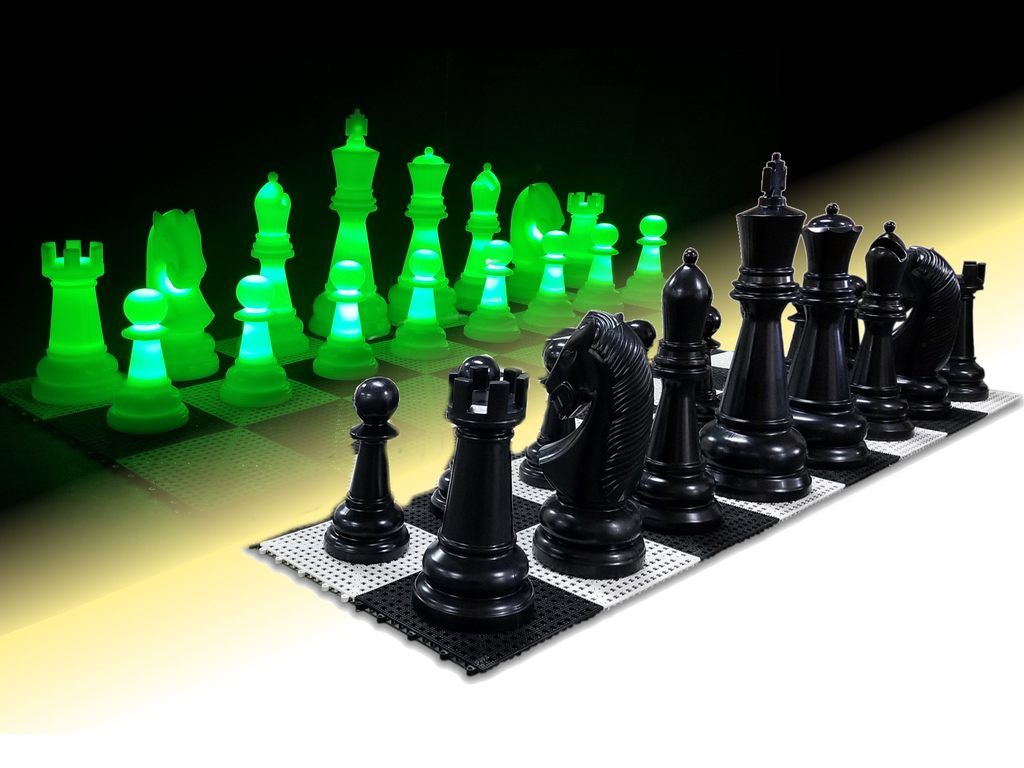 MegaChess 26 Inch Perfect Light-up LED Giant Chess Set  One Side LED and One Side Black |  | MegaChess.com