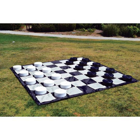 "Mega Checker Plastic Set 10"" Diameter with Quick Fold Nylon Chess Board 