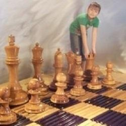 MegaChess Slotted Teak Giant Chess Board With 12 Inch Squares 8' x 8' |  | MegaChess.com
