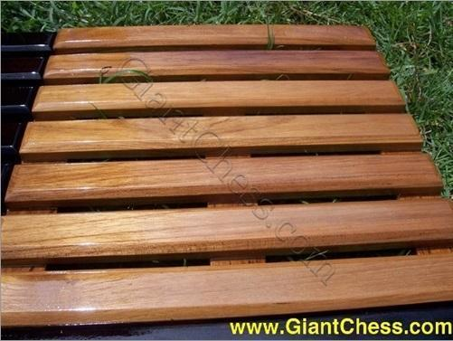 MegaChess Slotted Teak Giant Chess Board With 12 Inch Squares 8' x 8'