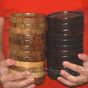 MegaChess 4 Inch Teak Giant Checkers |  | MegaChess.com