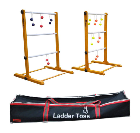 Uber Games Premium Ladder Toss - Double Game - Red, Navy Blue, Orange, and Yellow Bolas