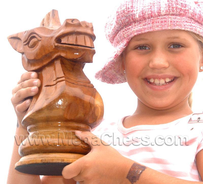 MegaChess 10 Inch Light Teak Knight Giant Chess Piece |  | MegaChess.com
