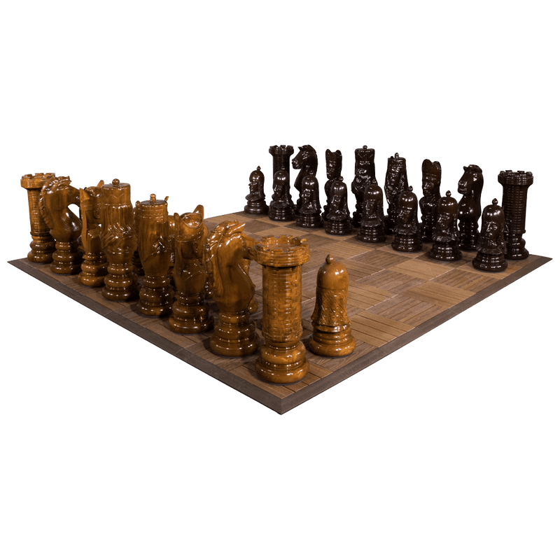 MegaChess 24 Inch Medieval Teak Giant Chess Set |  | MegaChess.com