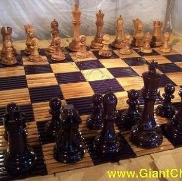 "Slotted Teak Chess Board with 6"" Squares 