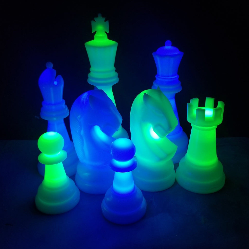 The MegaChess 38 Inch Perfect LED Giant Chess Set - Option 2 - Night Time Only Set | Blue/Green | MegaChess.com