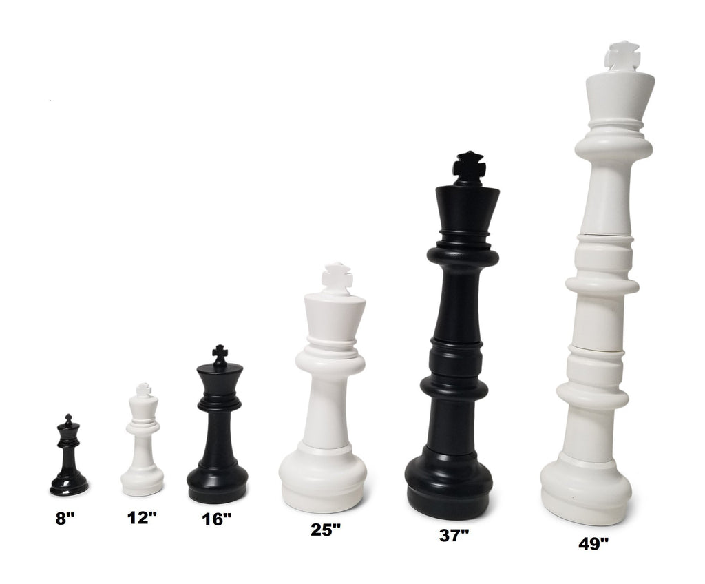 16 inch King Plastic MegaChess Large Chess Pieces Black and White