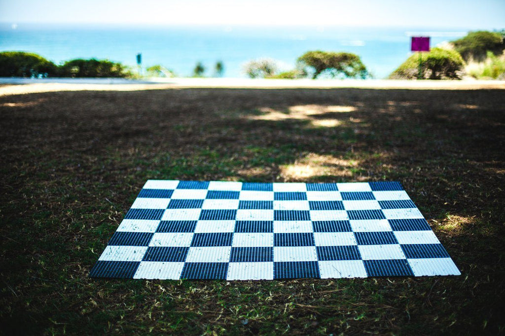 MegaChess Commercial Grade Roll Up Giant Chess Board With 24 Inch Squares 16' x 16' Available ADA Compliant Safety Edge Ramps |  | MegaChess.com