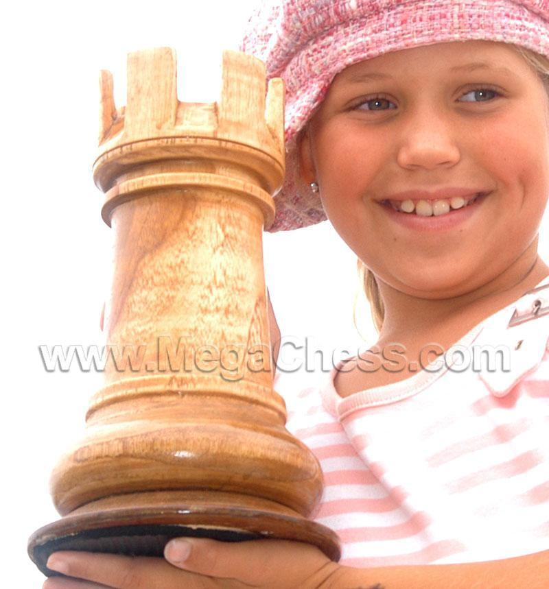 MegaChess 10 Inch Light Teak Rook Giant Chess Piece |  | MegaChess.com