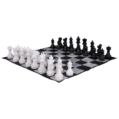 MegaChess Large Chess Pieces and Large Chess Mat - Black and White - Plastic - 12 inch King | Default Title | MegaChess.com