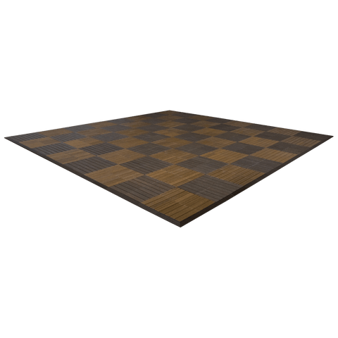 MegaChess Commercial Grade Synthetic Wood Giant Chess Board With 24 Inch Squares 16' x 16' Available ADA Compliant Safety Edge Ramps | No Edge Ramps | MegaChess.com