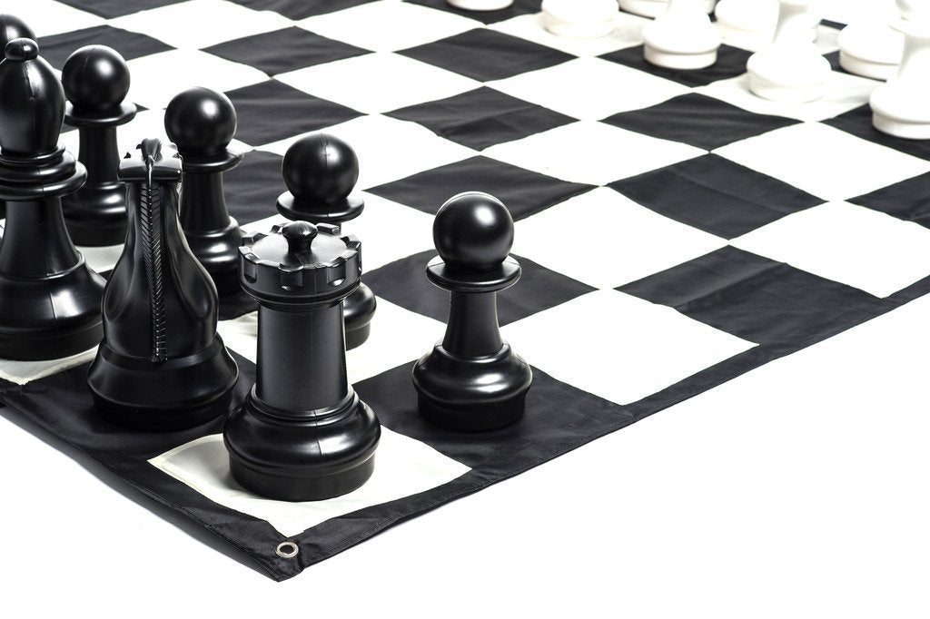 MegaChess Large Chess Pieces and Large Chess Mat - Black and White - Plastic - 12 inch King |  | MegaChess.com