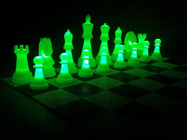 MegaChess 26 Inch Perfect Light-up LED Giant Chess Set  One Side LED and One Side Black | Green | MegaChess.com