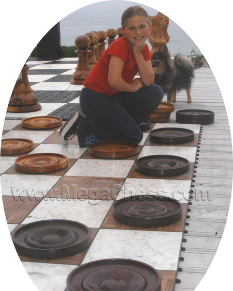 MegaChess 10 Inch Teak Giant Checkers |  | MegaChess.com