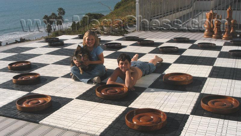 MegaChess 14 Inch Teak Giant Checkers |  | MegaChess.com