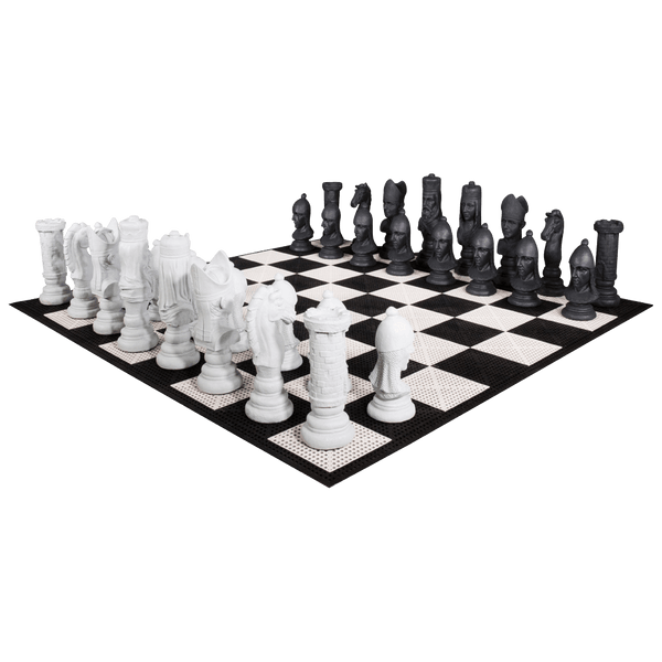 MegaChess 24 Inch Medieval Fiberglass Giant Chess Set | Commercial Grade Roll-Up Board / No Checkers | MegaChess.com