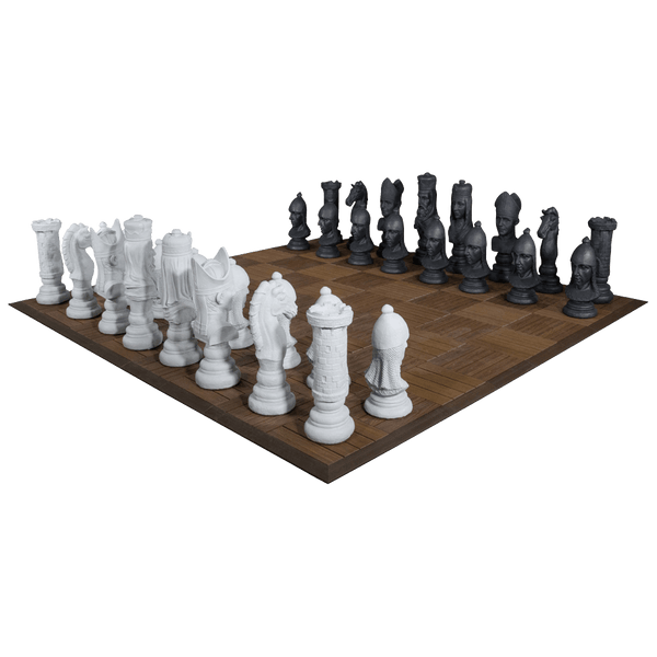 MegaChess 24 Inch Medieval Fiberglass Giant Chess Set | New Wood Board / No Checkers | MegaChess.com