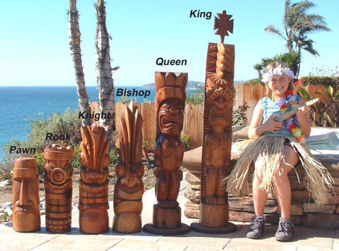 Giant Tiki Chess Set - 58 Inches Tall
