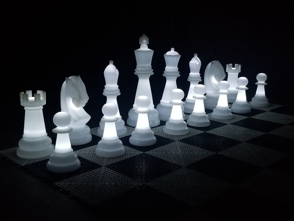 MegaChess 26 Inch Perfect Light-up LED Giant Chess Set  - Option 1 - Day and Night Value Set | White | MegaChess.com