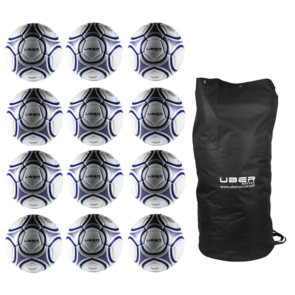 12 uber soccer training balls with nylon ball bag
