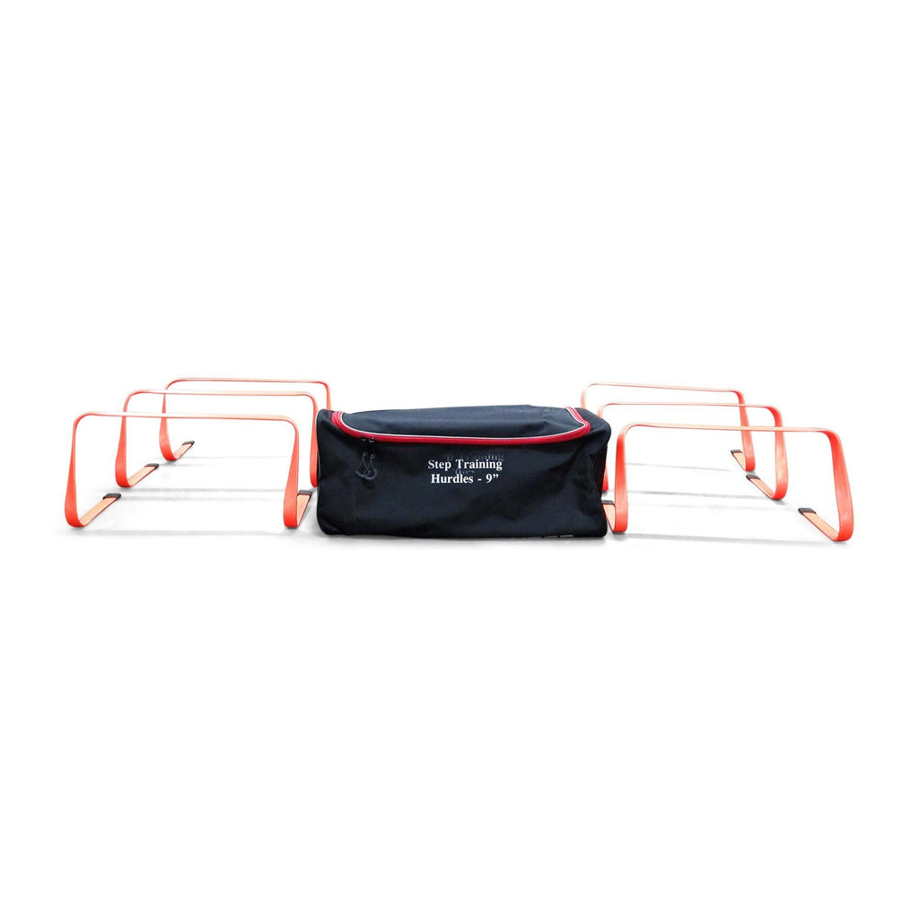 six uber soccer nine inch hurdles red with carry bag