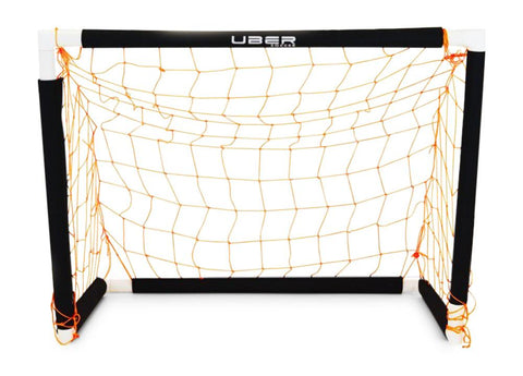 front view of uber soccer target practice goal with black posts and orange net