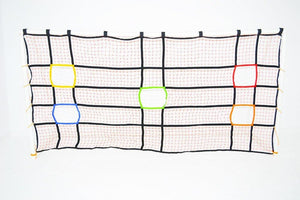 uber soccer five target practice net for a twelve foot by six foot goal with