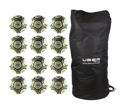 Uber Soccer Green/Gold Futsal Ball Bundle - 12 Pack - UberSoccer