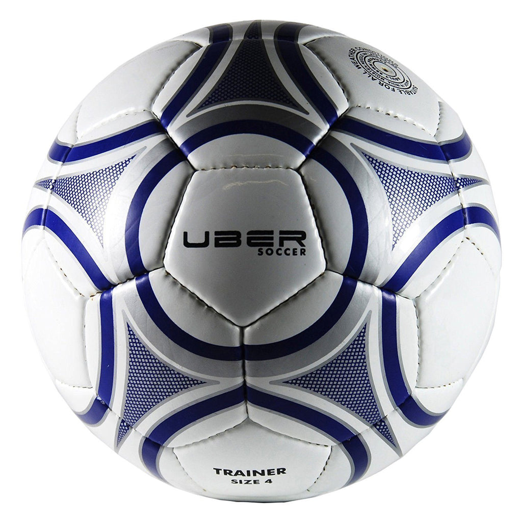 uber soccer training ball white blue and silver