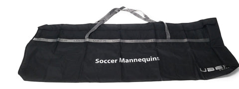 black and silver uber soccer mannequin bag