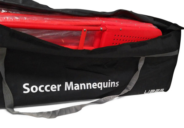 black and silver uber soccer mannequin bag with red mannequins inside