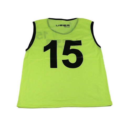Uber Soccer Numbered Scrimmage Training Bibs - Set of 15