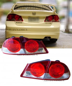 06-11 HONDA CIVIC 4D TAIL LIGHT JDM CSX RED & CLEAR SET