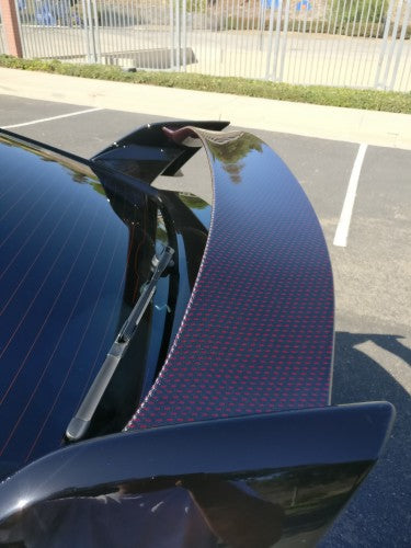 17-20 HONDA CIVIC 5DR TYPE-R REAR TRUNK LID SPOILER WING RED+BLACK CARBON FIBER CENTER & UNPAINT SIDE WING